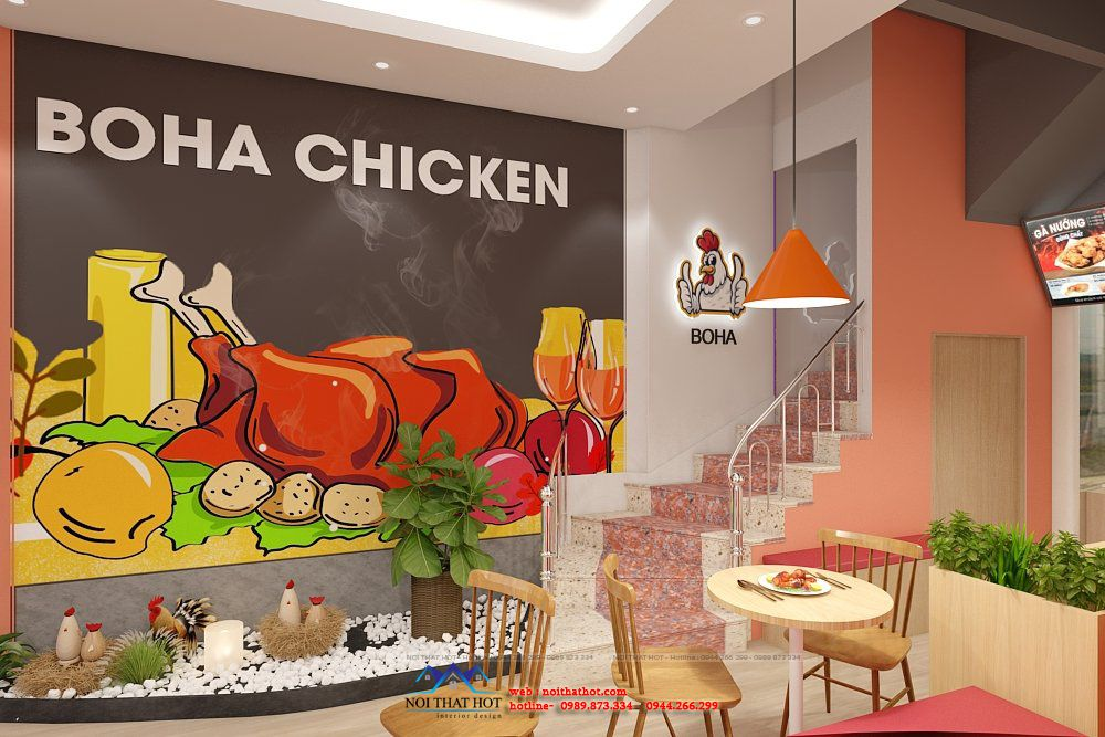 thiết kế quán gà nướng 20m2