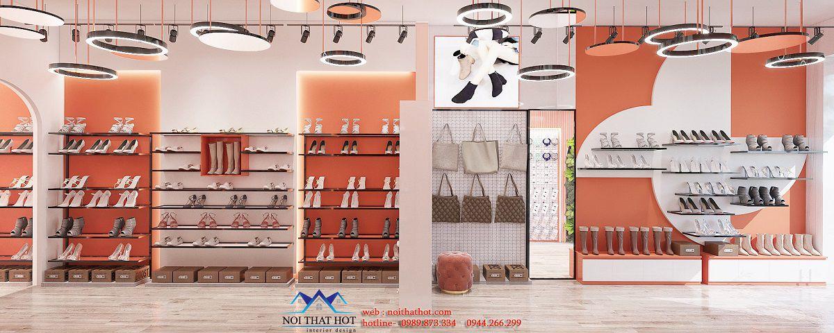 thiết kế nội thất tiệm giày boot