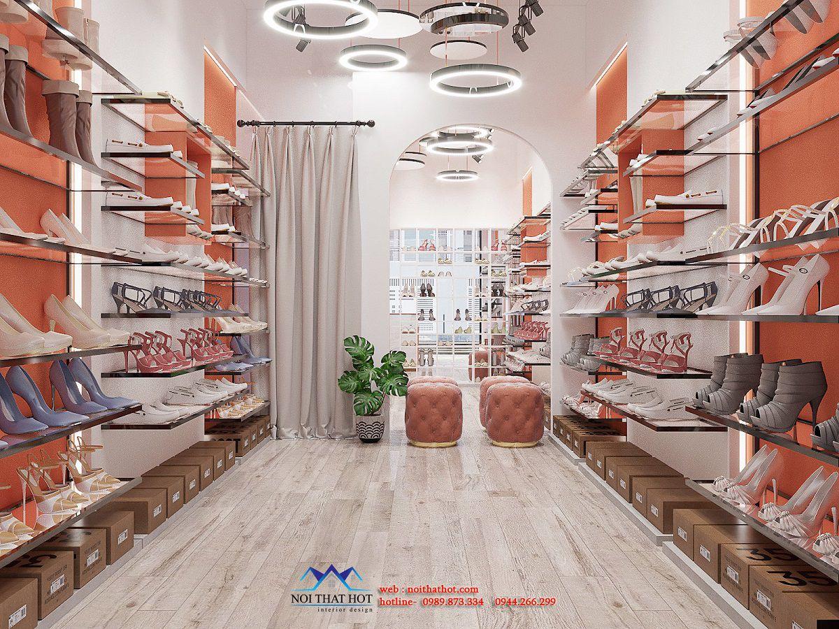thiết kế shop giày 30m2