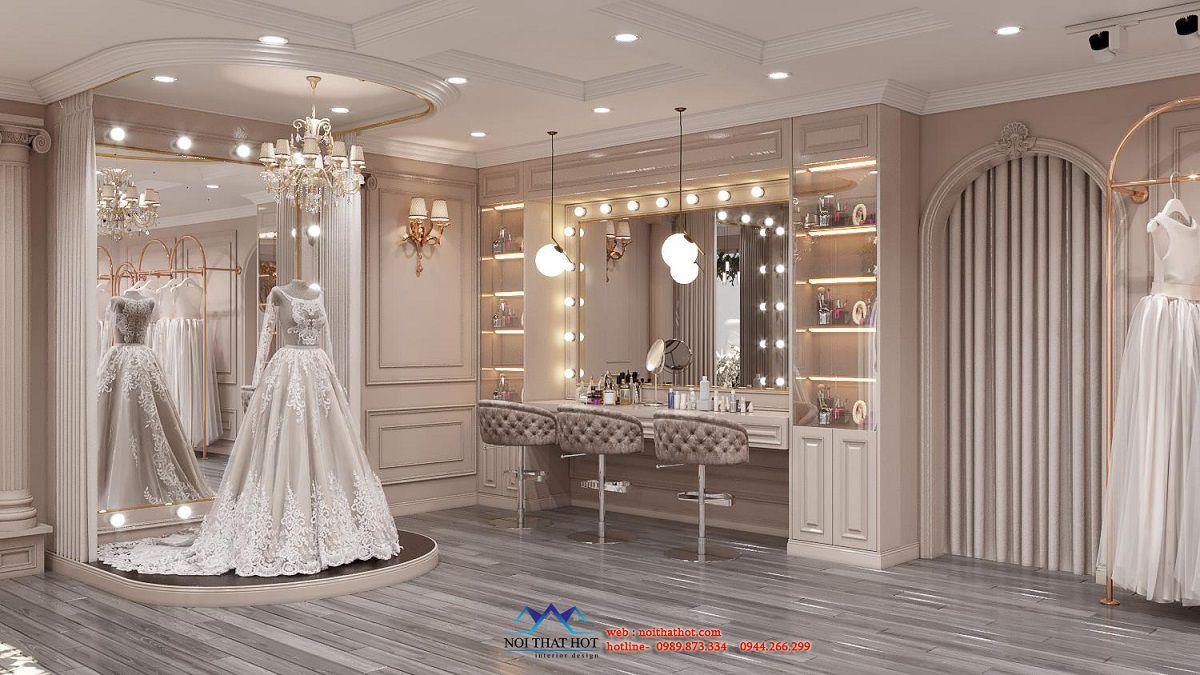 thiết kế nội thất cửa hàng váy cưới
