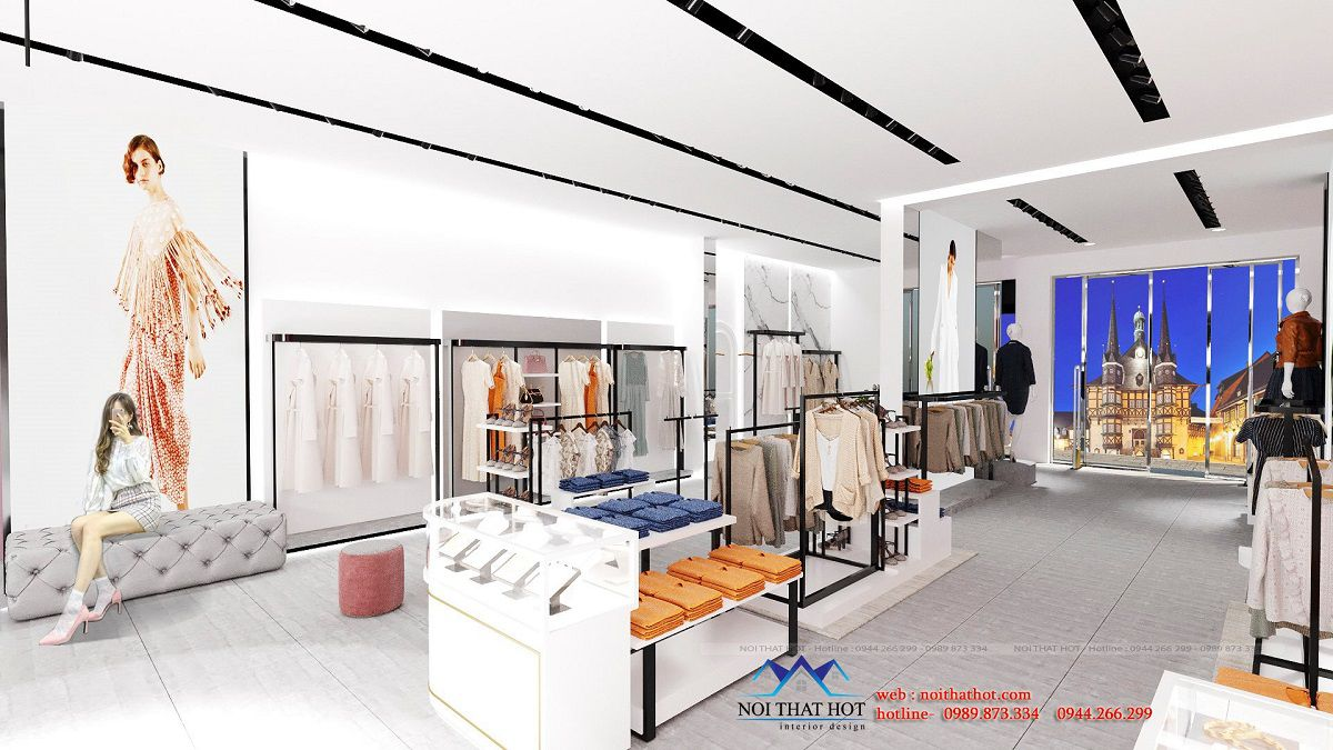 thiết kế nội thất shop thời trang 150m2