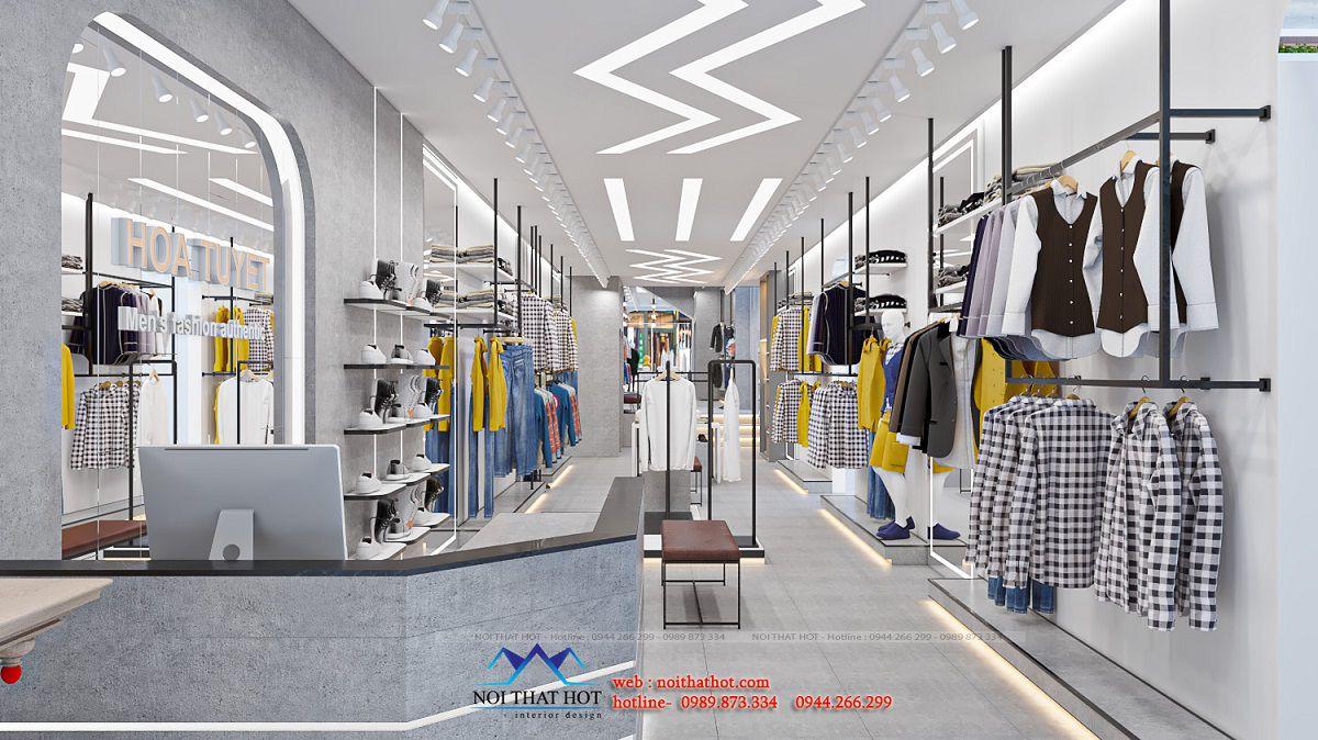 thiết kế shop thời trang nam 120m2