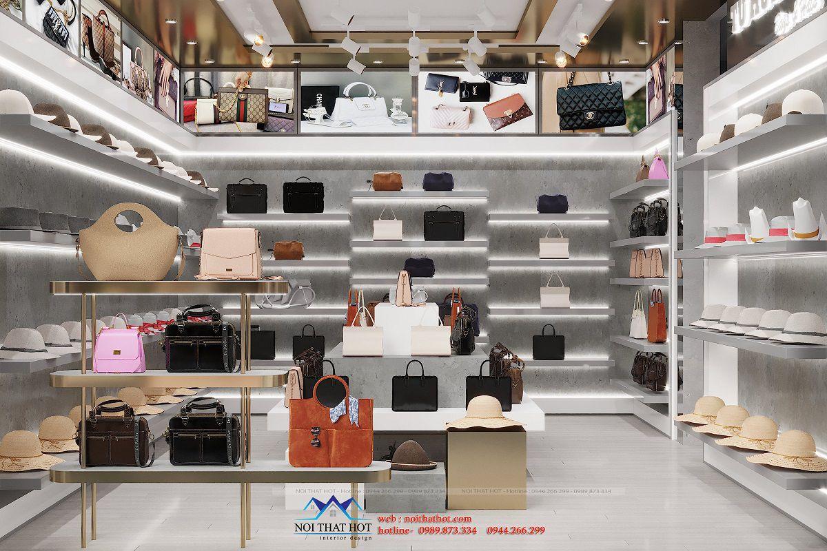 thiết kế shop túi xách 10m2
