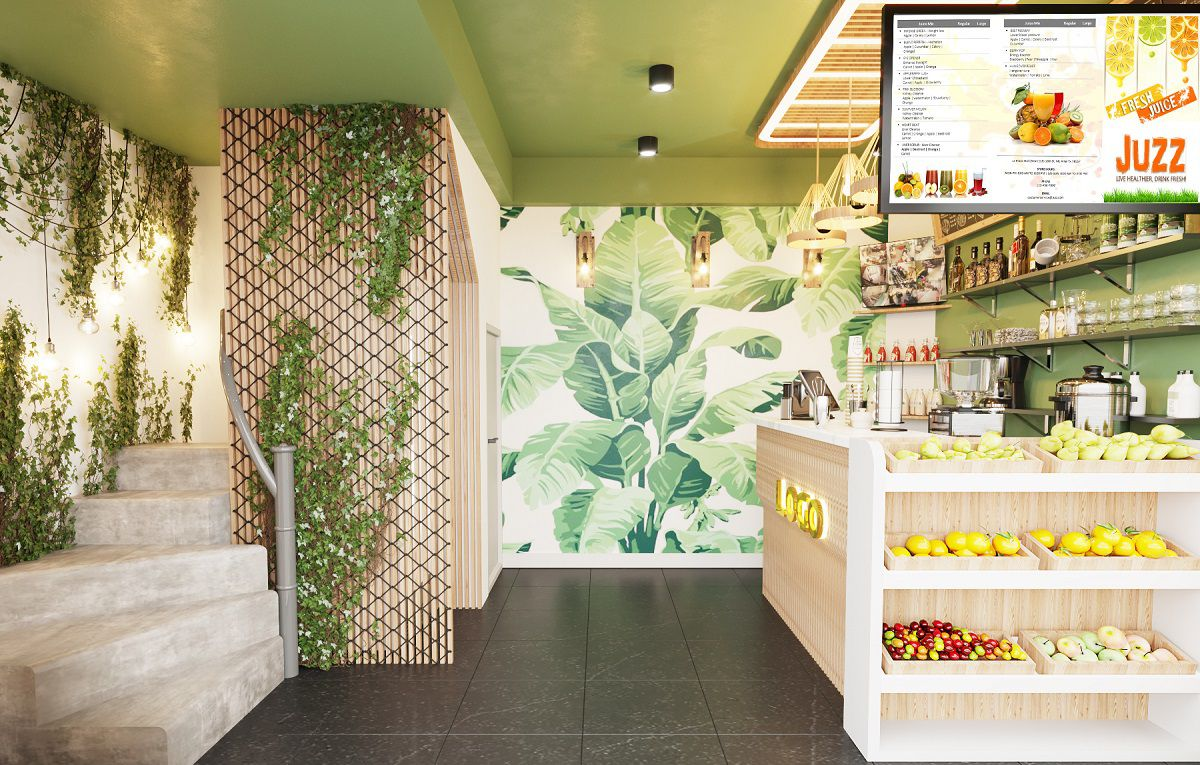 Thiết kế cửa hàng nước ép hoa quả
