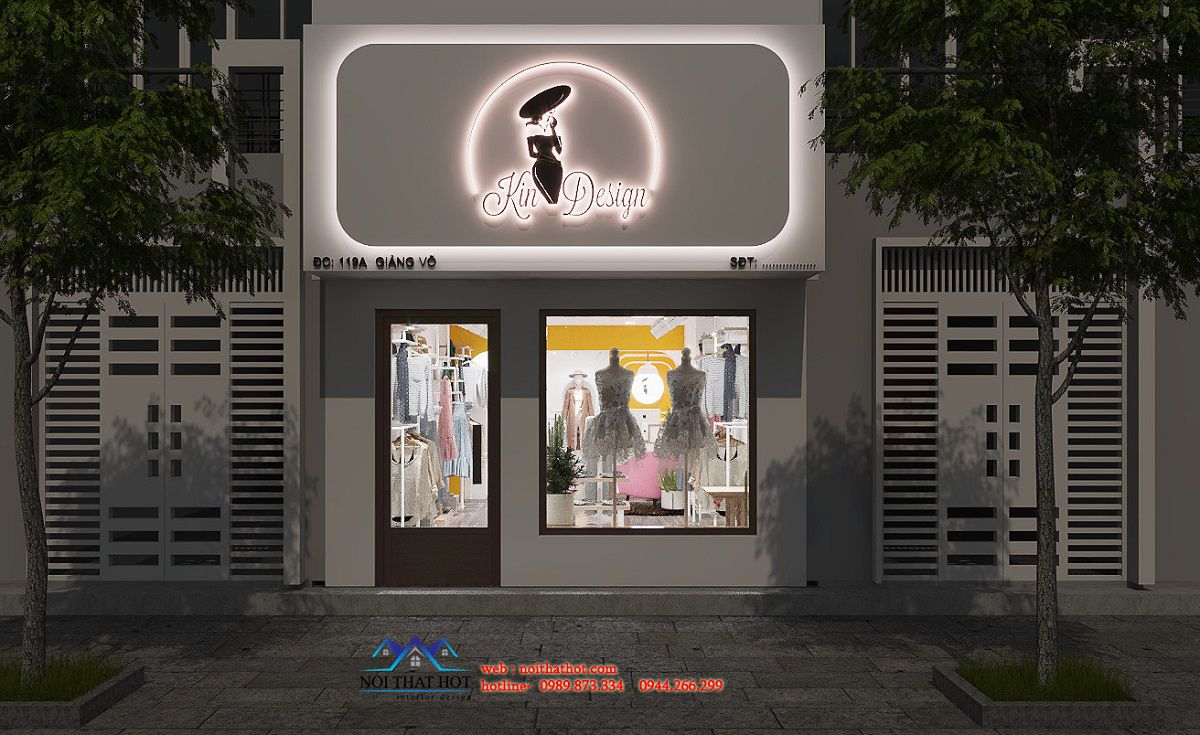 thiết kế mặt tiền cửa hàng