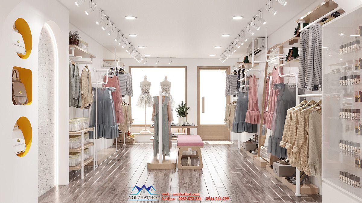 thiết kế cửa hàng quần áo nữ 40m2