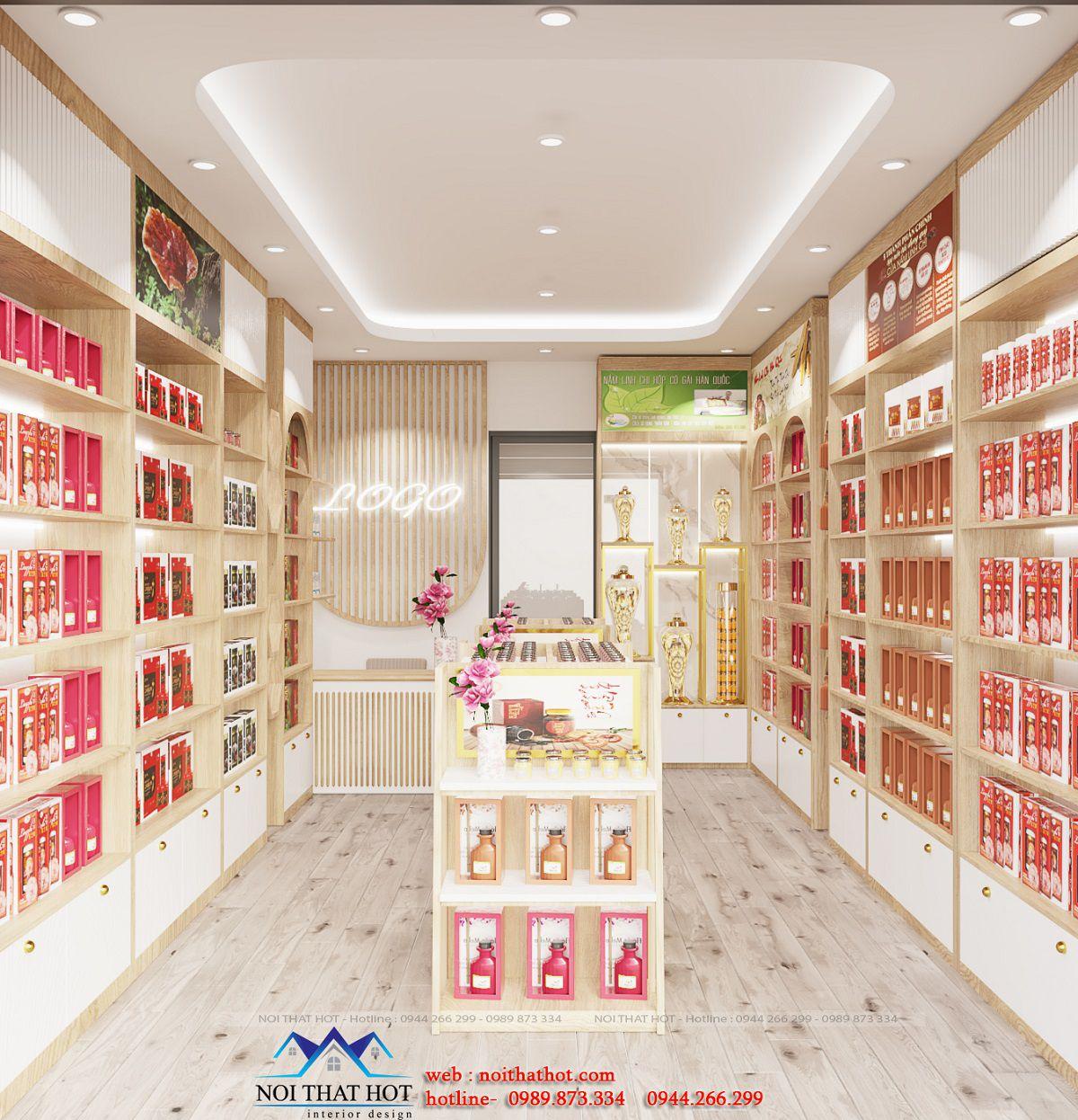 thiết kế cửa hàng nấm linh chi