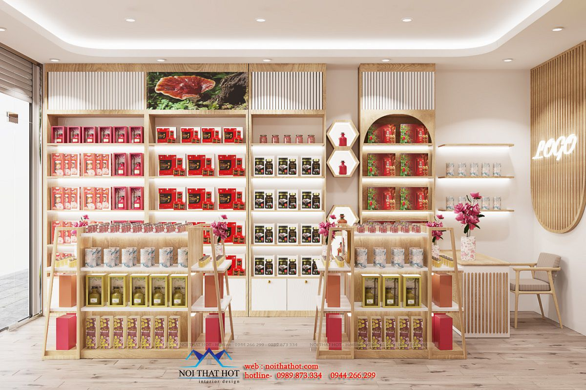 thiết kế showroom nấm linh chi
