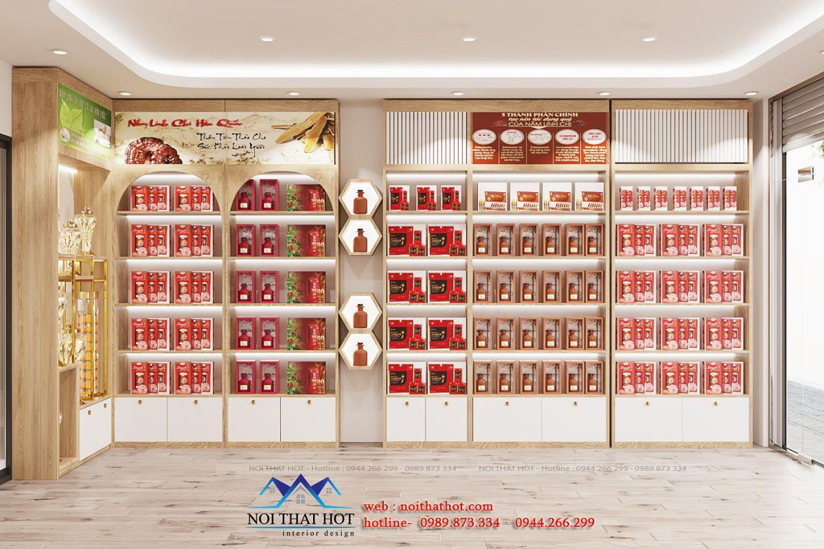 thiết kế nội thất cửa hàng nấm linh chi