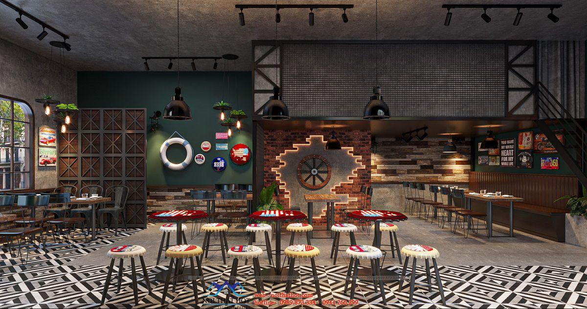 thiết kế nhà hàng nhỏ 50m2
