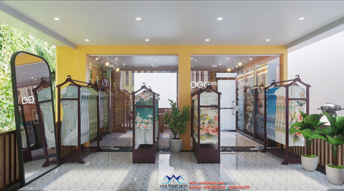thiết kế shop thời trang lụa