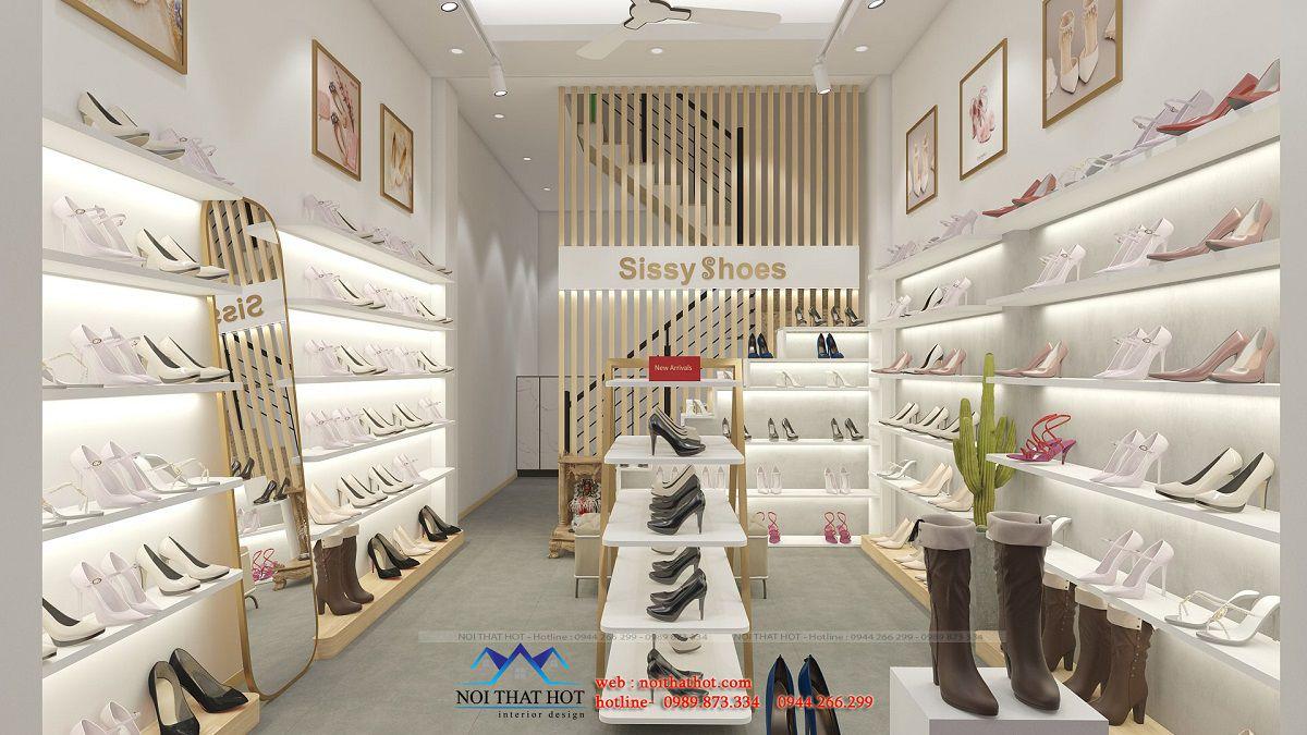 thiết kế shop giày nữ 12m2