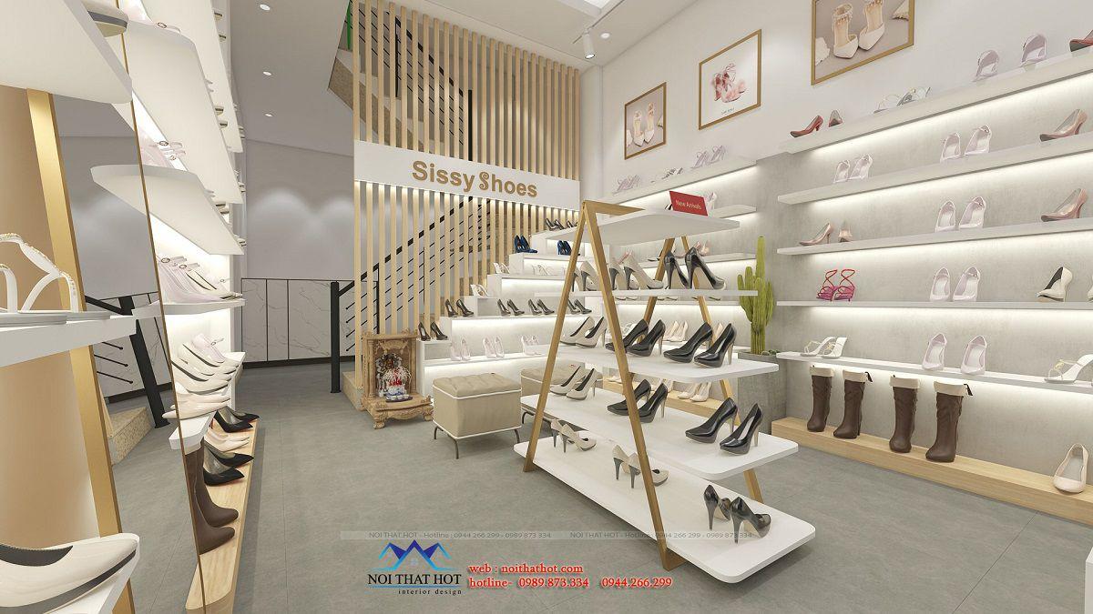 thiết kế cửa hàng giày nữ