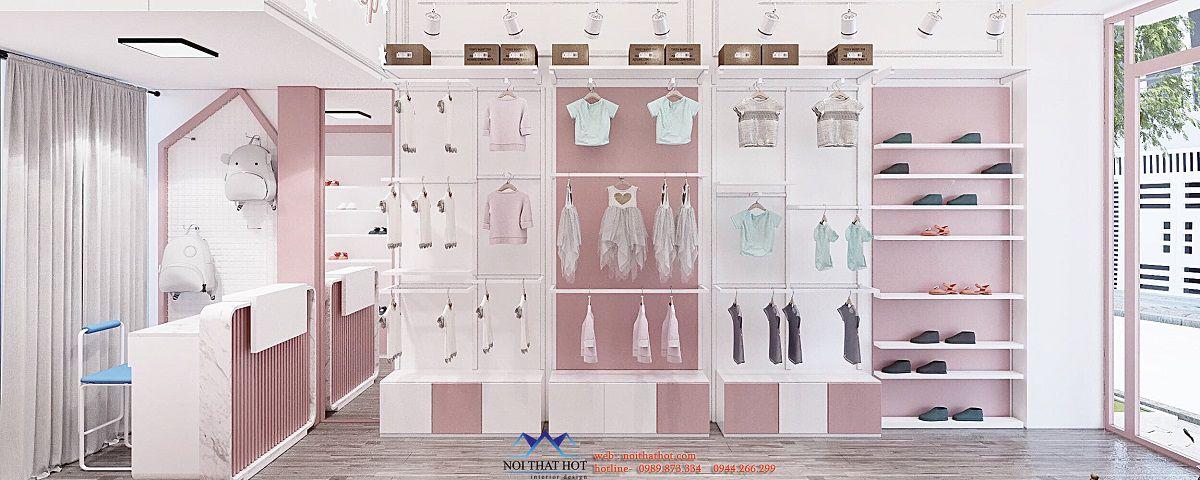 thiết kế shop thời trang trẻ em 13m2
