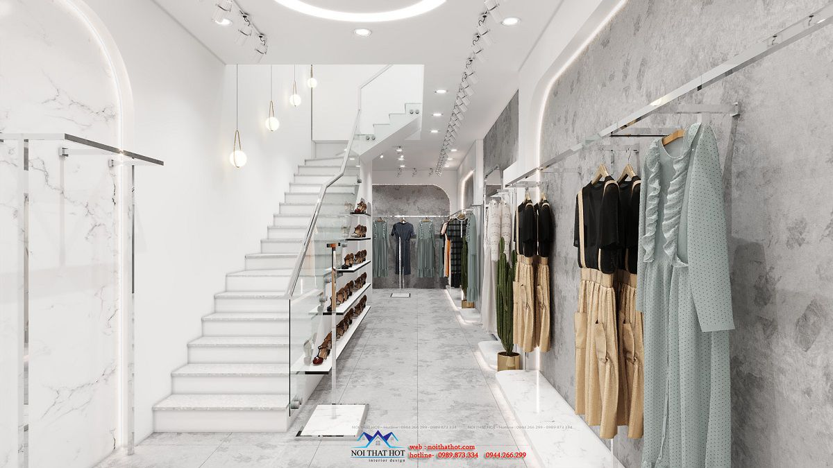 thiết kế shop thời trang hẹp ngang