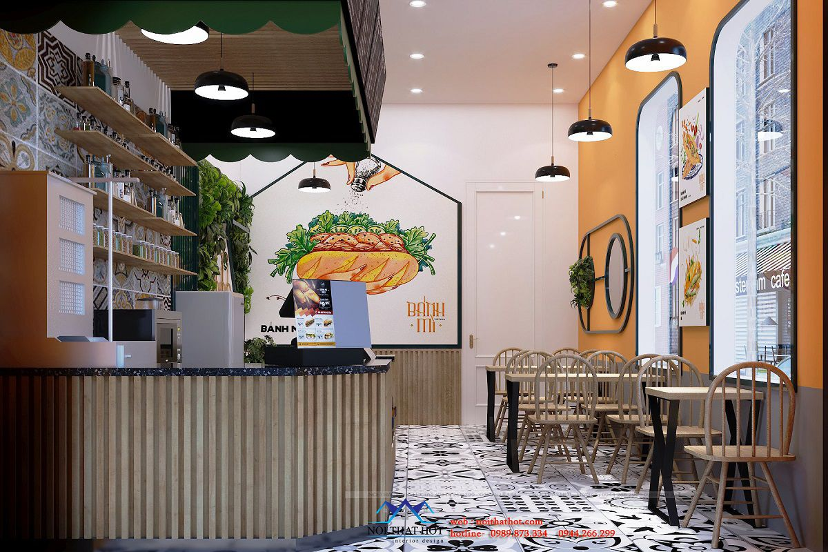 thiết kế tiệm bánh mì 25m2