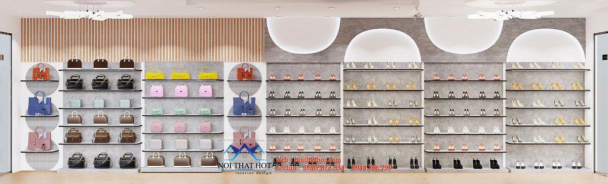 thiết kế shop giày dép túi xách 40m2