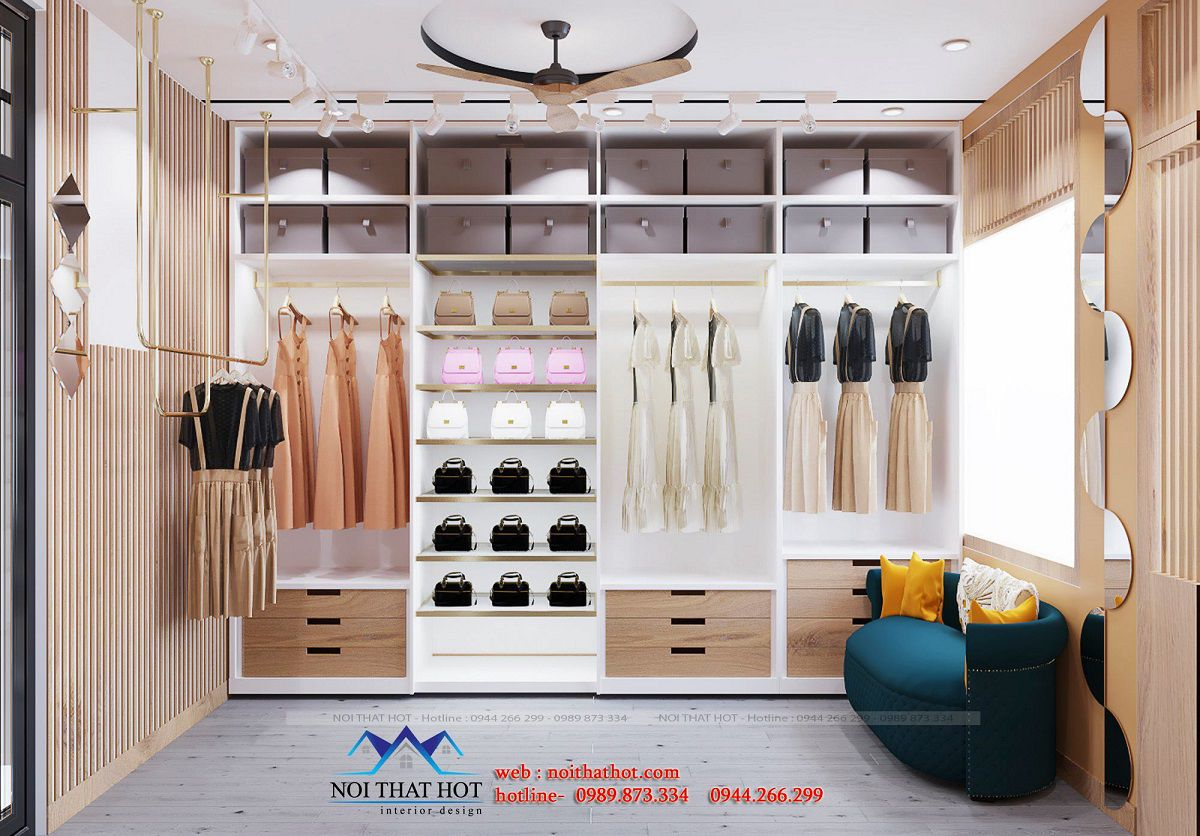 tủ trưng bày quần áo phụ kiện