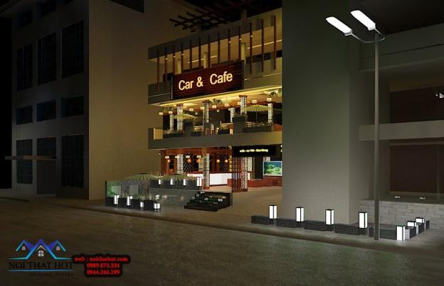 thiết kế quán cafe có khu để xe