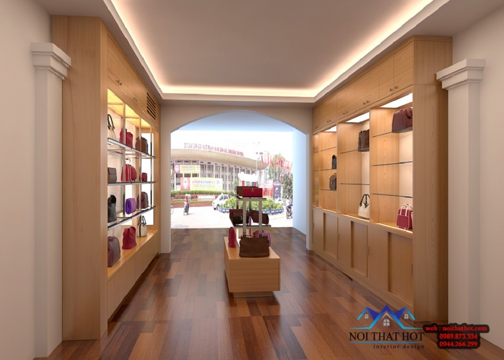 thiết kế shop túi xách diện tích 25m2