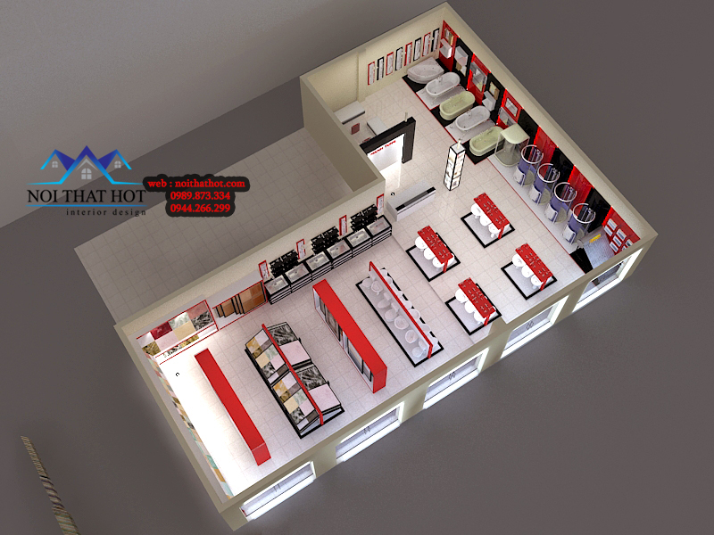 thiết kế showroom thiết bị vệ sinh đẹp mắt sang trọng
