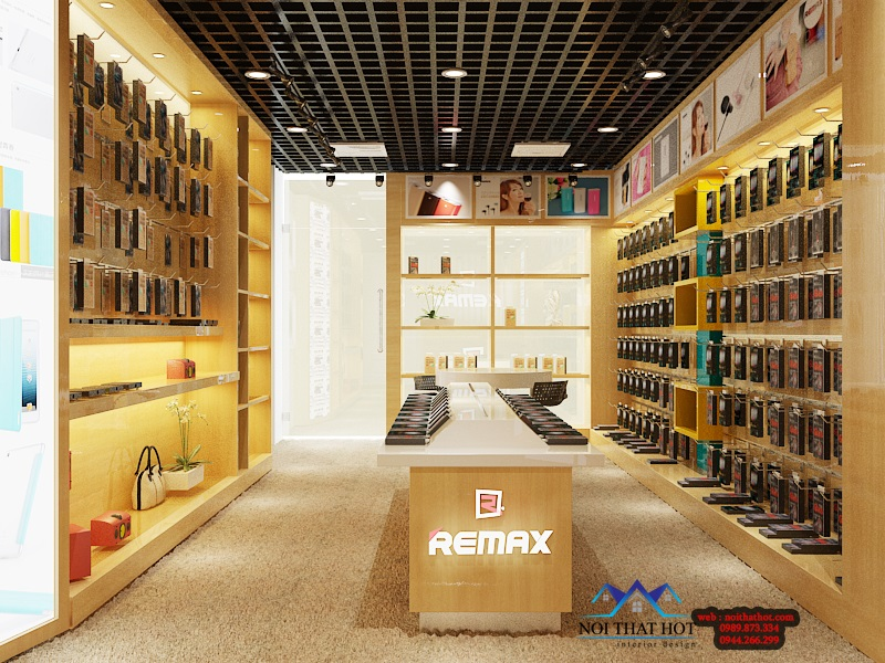 thiết kế shop phụ kiện điện thoại Remax