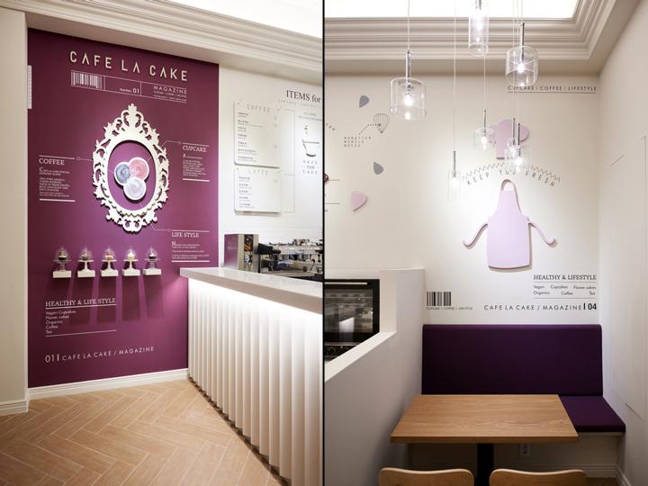 thiết kế quán cafe màu tím