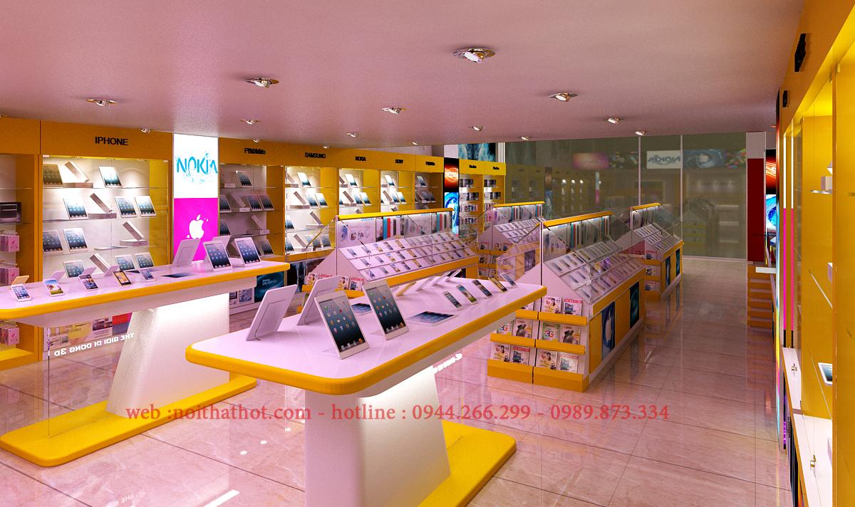 thiết kế showroom điện thoại rộng lớn