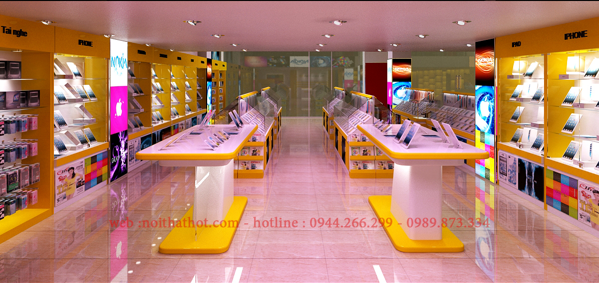 thiết kế cửa hàng bán điện thoại, máy tính bảng