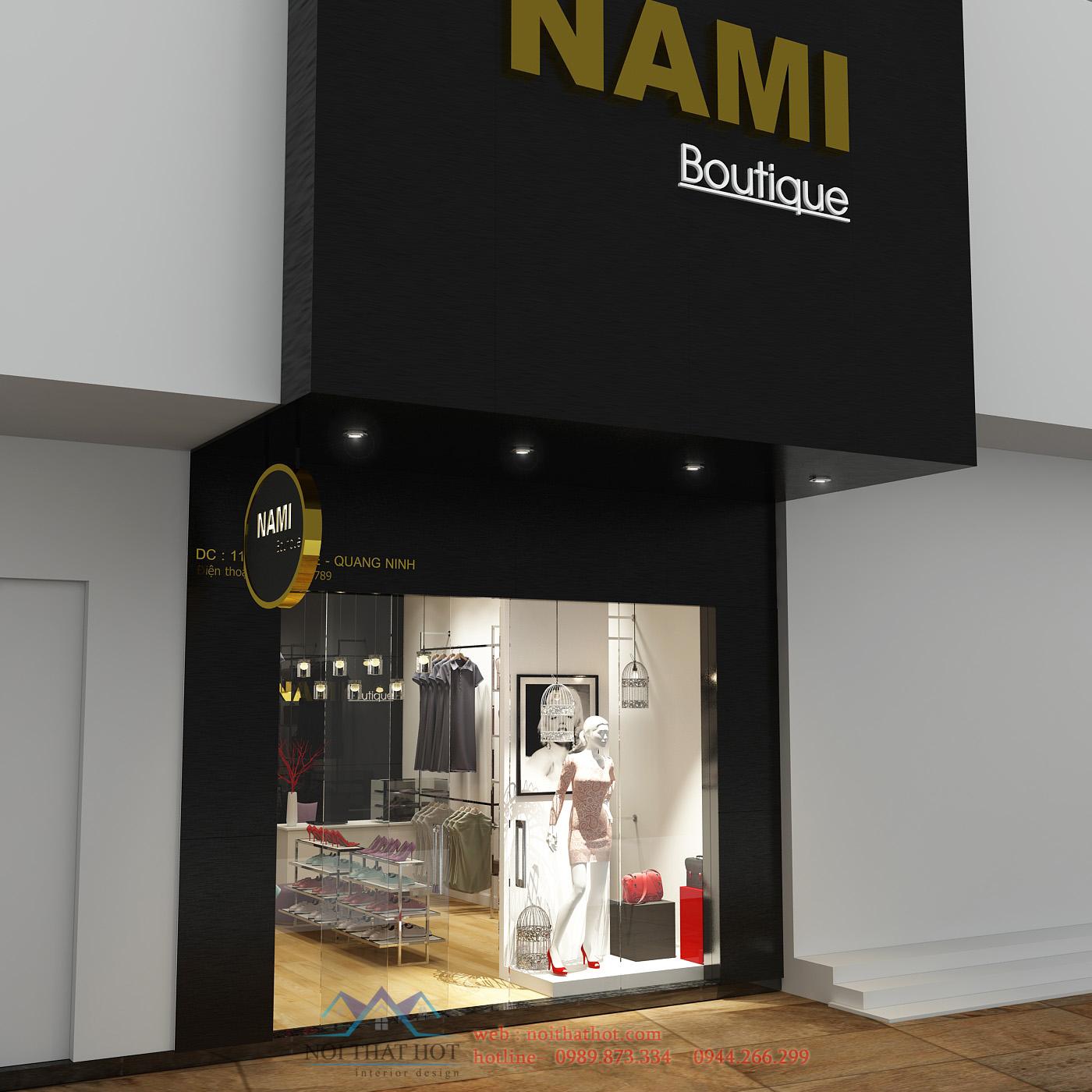 thiết kế cửa hàng thời trang nữ nami