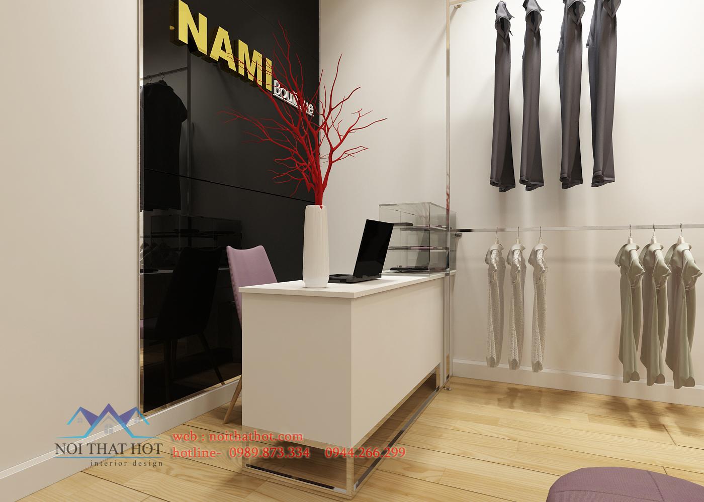 thiết kế shop thời trang nữ với khu thu ngân đẹp