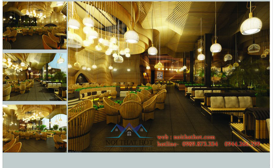 thiết kế quán cafe tre đẳng cấp