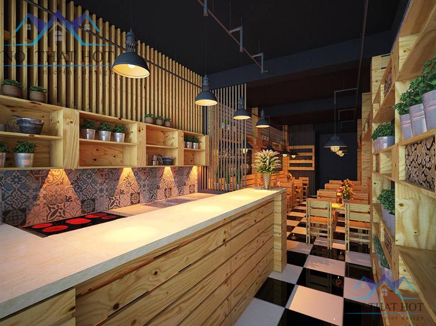 thiết kế quán cafe gỗ thông đẹp mắt