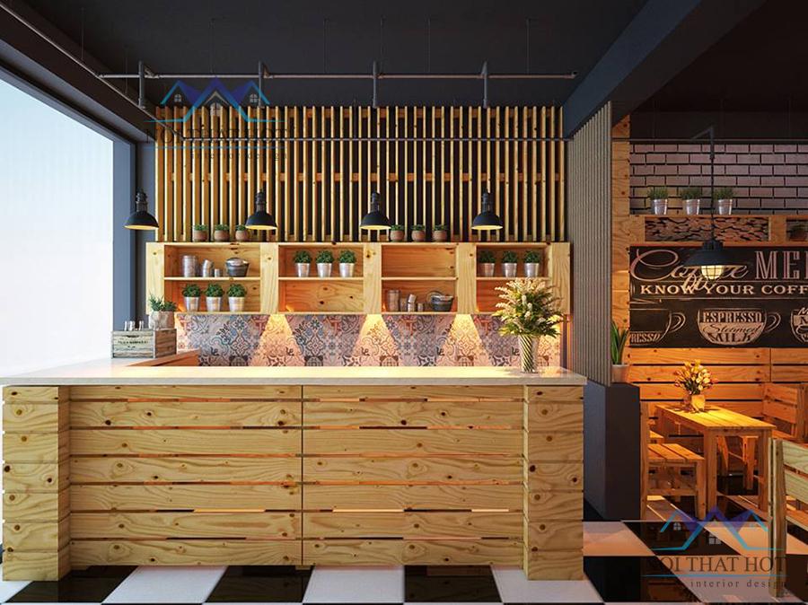 Thiết kế quán cafe gỗ thông tại Hà Nội