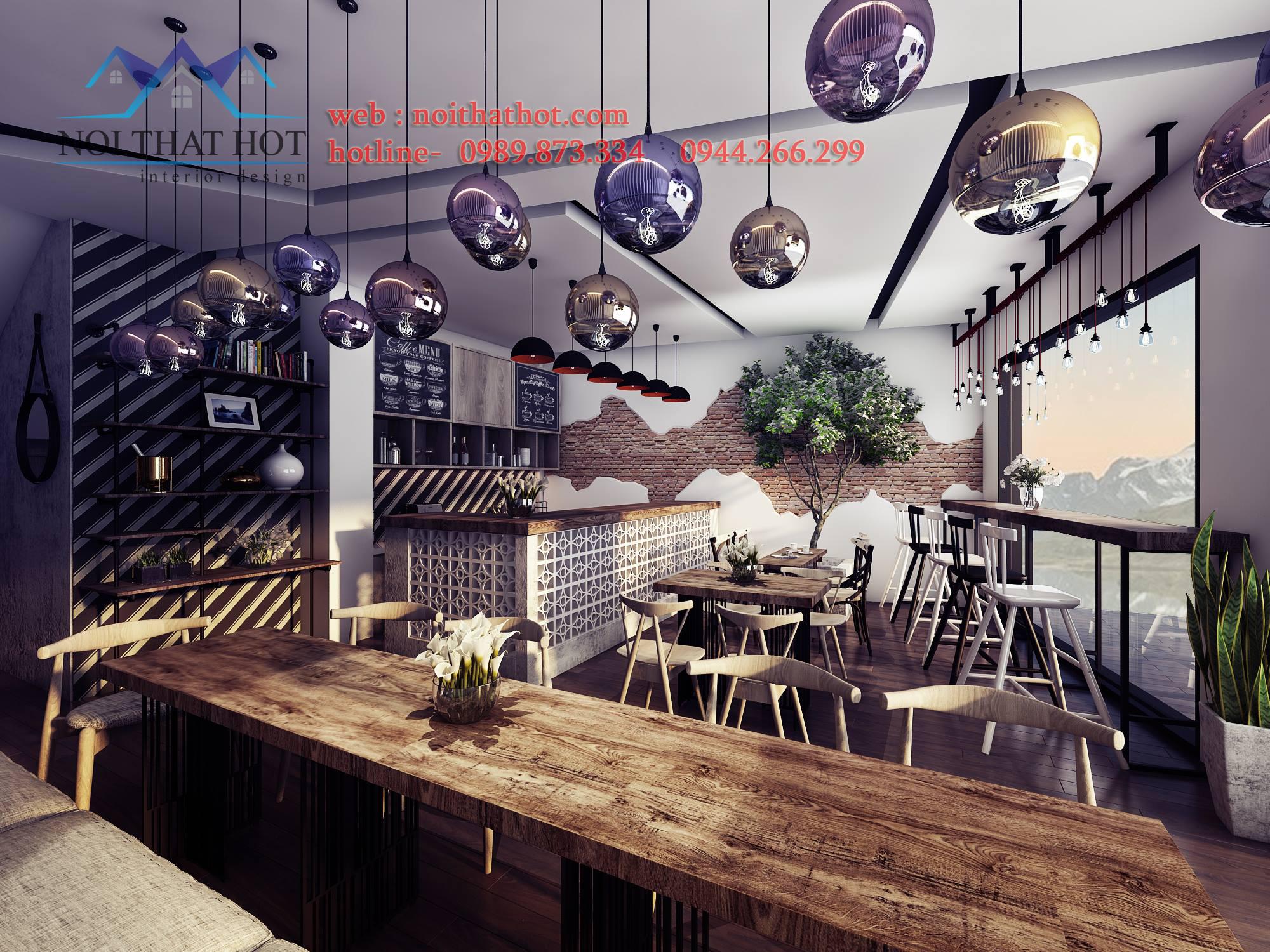 thiết kế quán cafe mộc sáng tạo