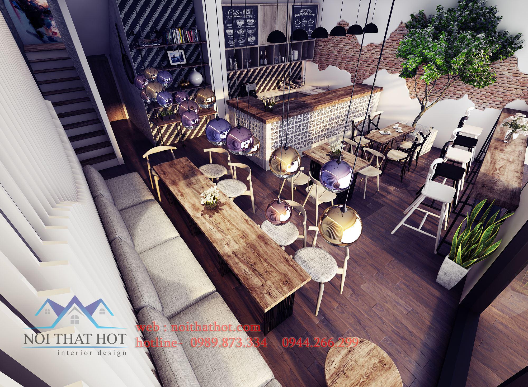 thiết kế quán cafe mộc mạc, đơn giản