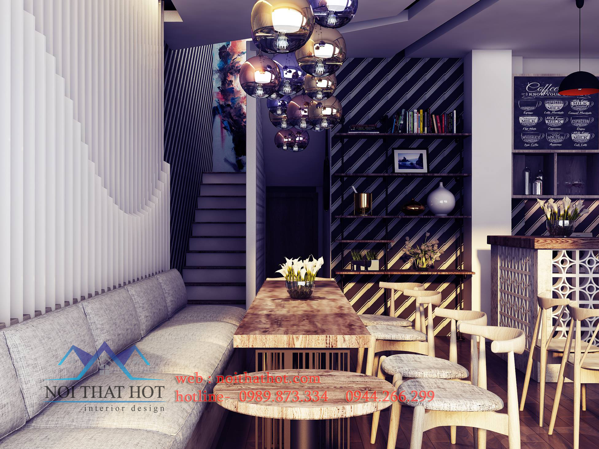 thiết kế quán cafe mộc diện tích nhỏ
