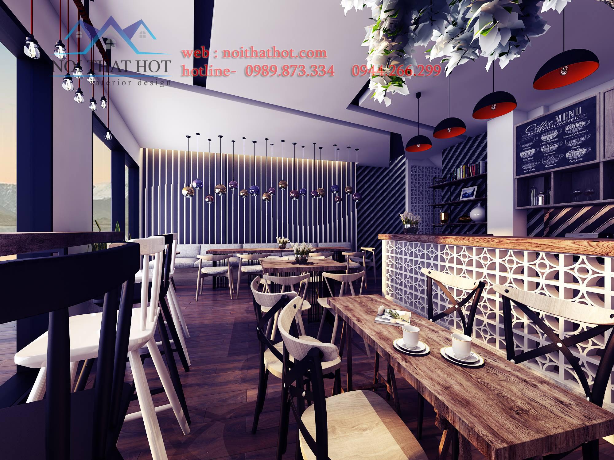 thiết kế quán cafe mộc dẹp mắt