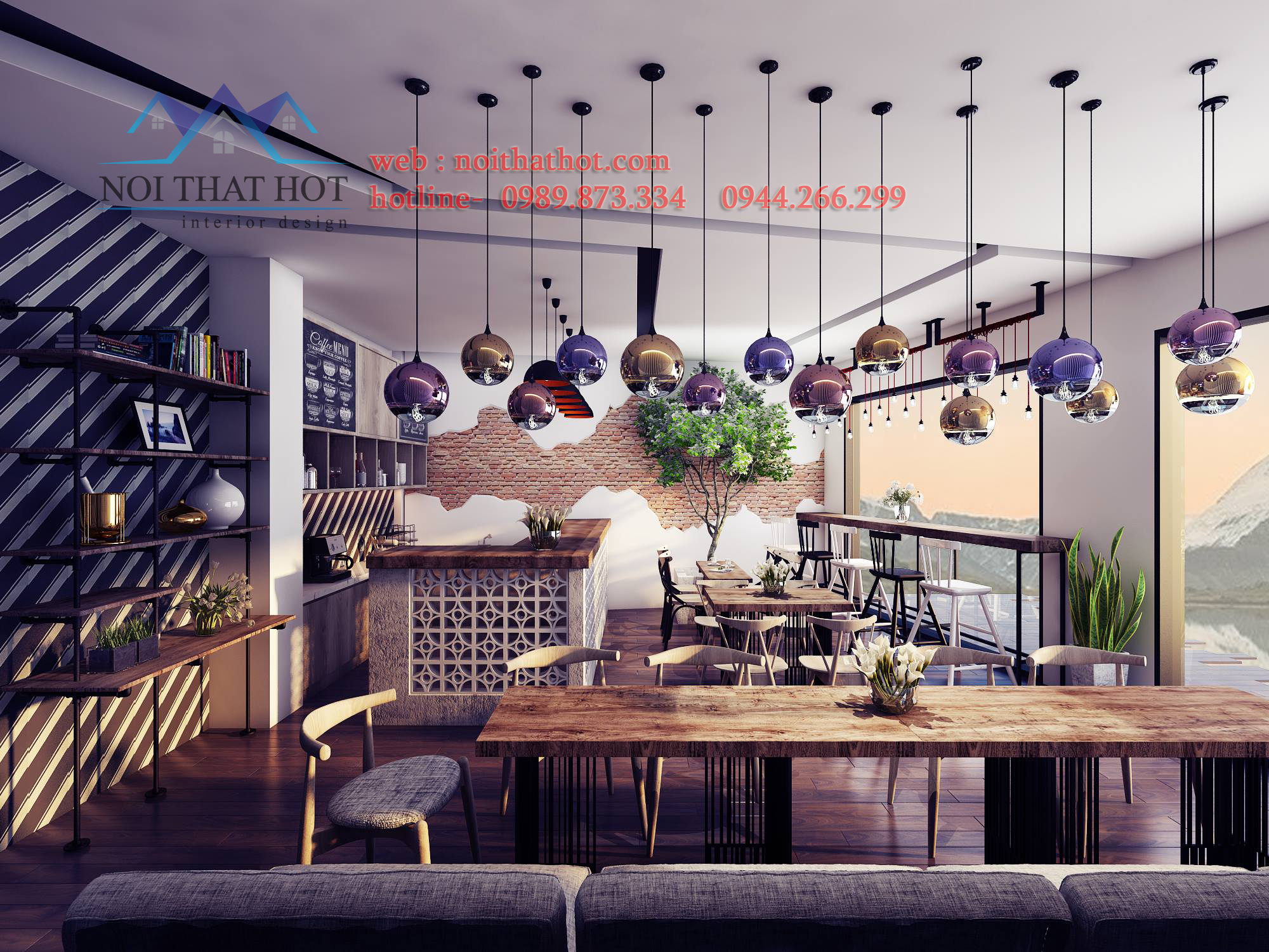 thiết kế quán cafe mộc trẻ trung