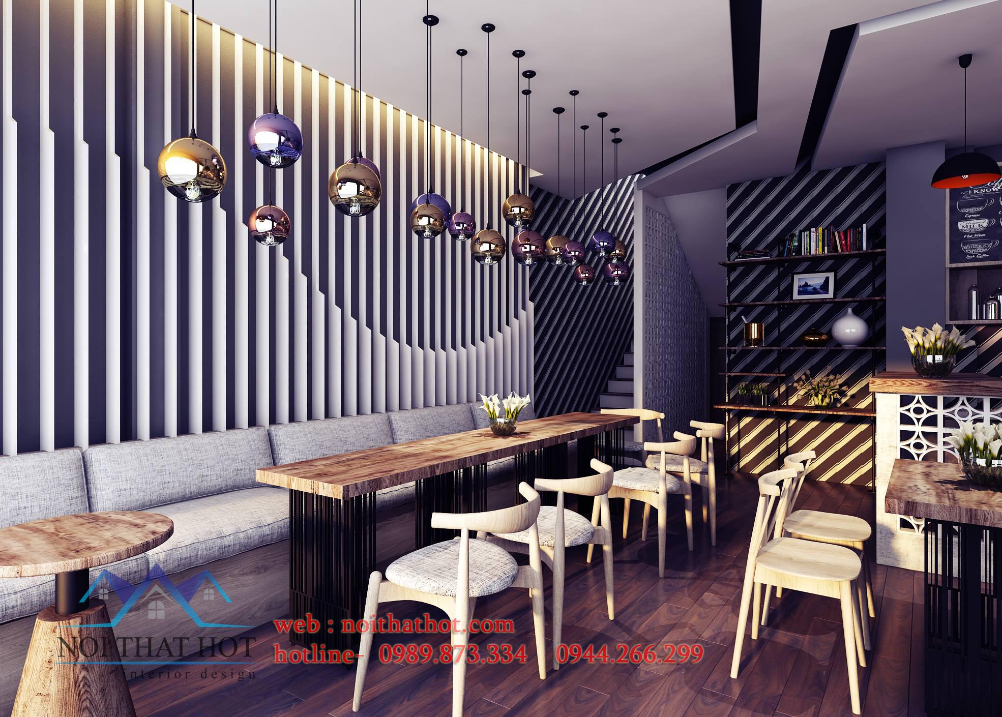 thiết kế quán cafe mộc cổ điển