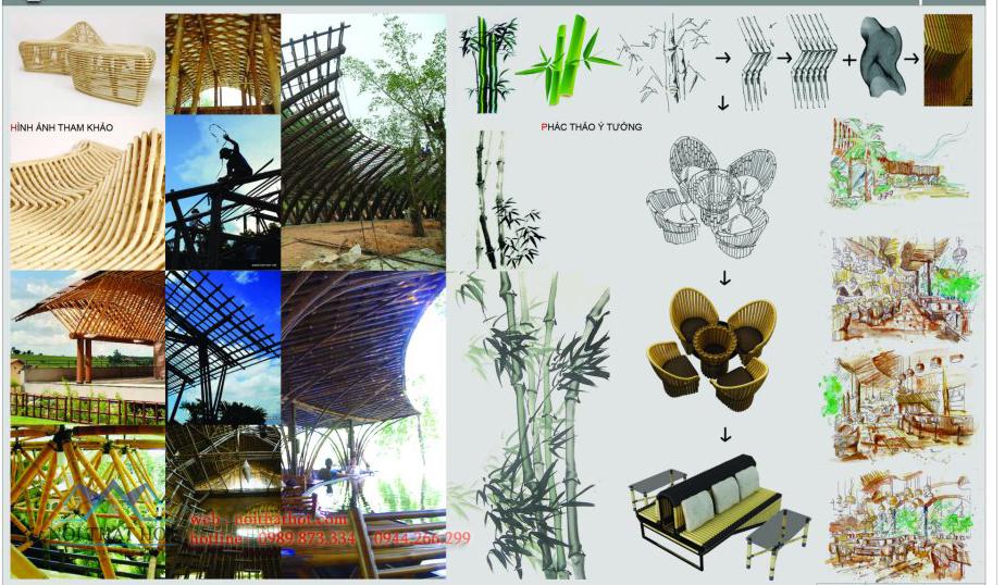 thiết kế quán cafe tre