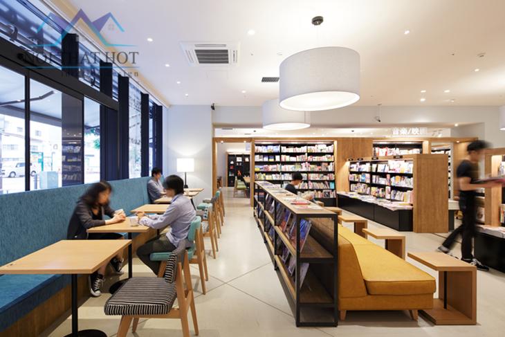 Thiết kế quán cafe sách với hàng ghế tiện lợi
