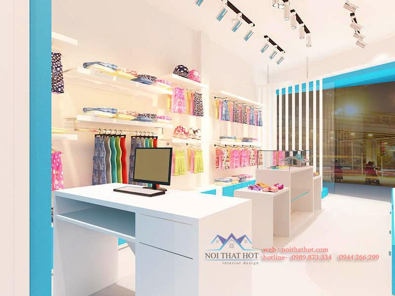 thiết kế cửa hàng thời trang đơn giản, sang trọng