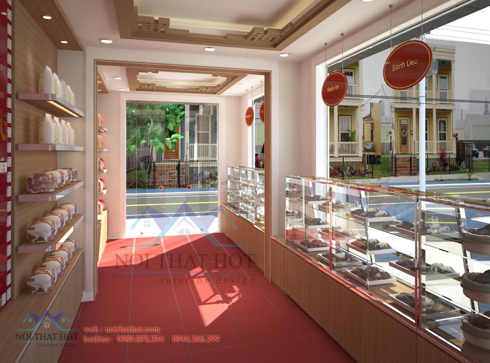 thiết kế cửa hàng bánh ngọt thông thoáng
