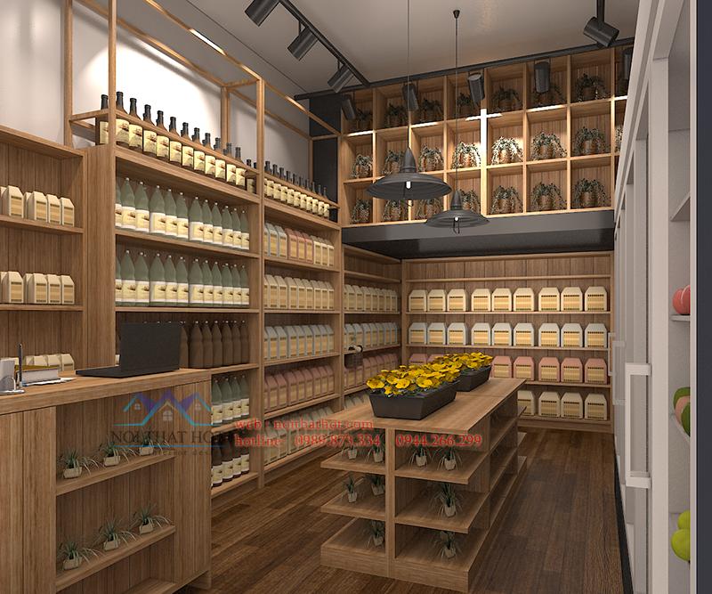 Thiết kế cửa hàng hoa quả ấm áp gần gũi