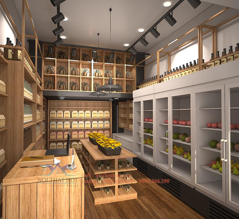 Thiết kế cửa hàng hoa quả hiện đại xen lẫn cổ điển