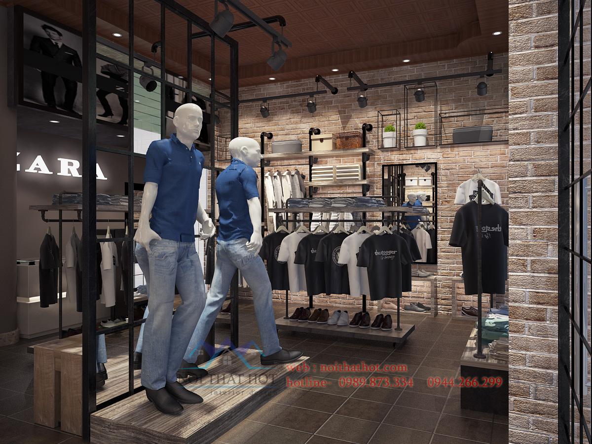 thiết kế cửa hàng thời trang nam gạch đỏ