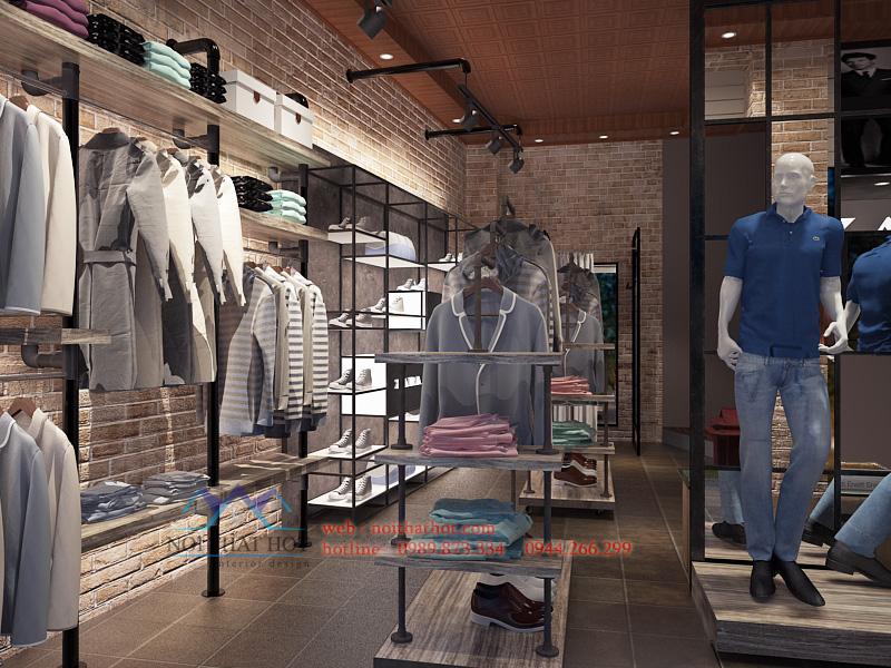 thiết kế cửa hàng thời trang nam phong cách đường phố