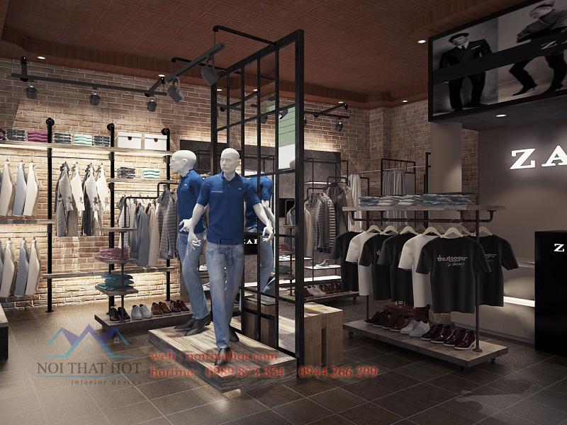thiết kế cửa hàng thời trang nam cá tính