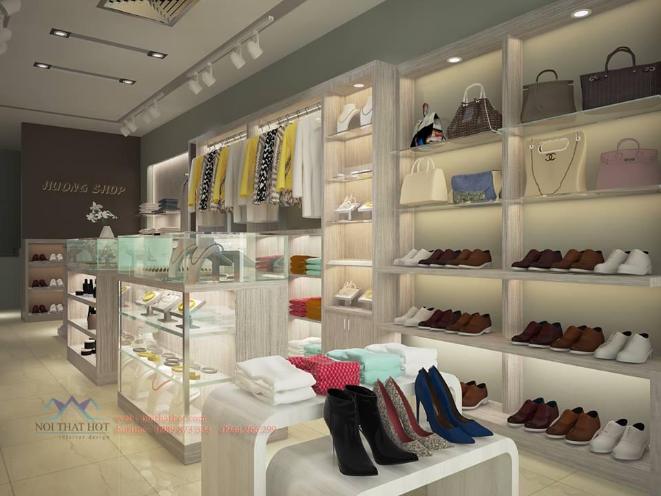 thiết kế cửa hàng thời trang nữ với tủ phụ kiện